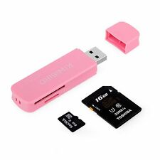 Kiwibird ® USB 3.0 (3.1 GEN 1) Super Velocidad 8 en 1 lector de tarjeta de memoria-Rosa