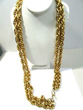 Thick Wide Gold Tone Double Link Belt Textured Bright Metal