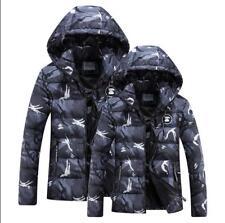 Korean Mens Camo Hooded Slim Coats Military Winter Warm Zip Gray Jacket CN 2XL