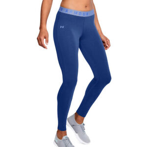 Under Armour UA Favourite Cotton Womens Blue Long Fitted Gym Running Leggings