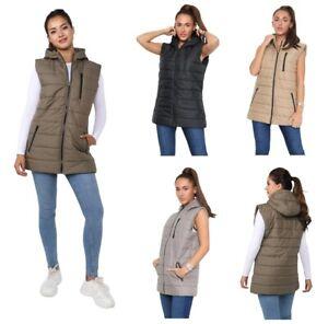Womens Ladies Long Line Puffer Sleeveless Jacket 3/4 Length Gilet
