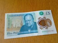 £5 note (polymer) AA44