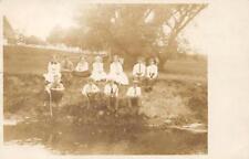 RPPC Group of Kids On River Bank PM York, PA 1911 Vintage Real Photo Postcard