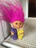 "Vintage Dam 1985 Norfin Troll Doll 3"" Clown Pink Hair Purple Yellow Outfit China"