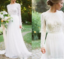 Wedding Dress with Long Sleeves Elegant Long Chiffon Bridal Gown Lace Top Jewel