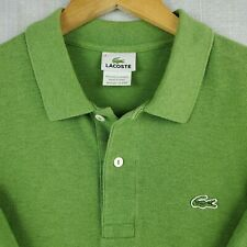 LACOSTE Size 6 Large Mens Green Polo Shirt Short Sleeve Pique Pima Cotton Golf