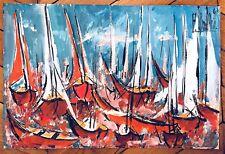 Boucheix François gouache sur papier signée 1967 la voile voiliers surréalisme