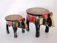 Set of 2 Elephant Stool Hand Painted Decorative Elephant Shape Home Decor