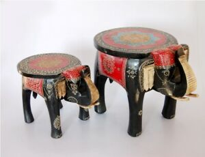 INDIAN DECORATIVE WOODEN Hand Painted Decorative Elephant Shape SET OF 2
