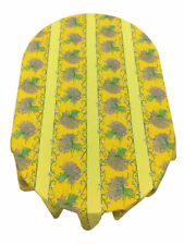 Provencal 100% Coated Cotton Tablecloth Lavender Bouquet Yellow France 61X78.7