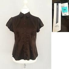 M&S Satin Shirt Blouse 14 Collar Short Sleeve Button Down Formal Office NEW £25