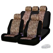 New Semi Custom Animal Cheetah Print Car Truck Seat Covers Full Set For KIA
