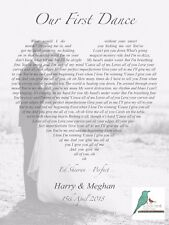 First Dance song lyrics personalised photograph print - wedding / anniversary