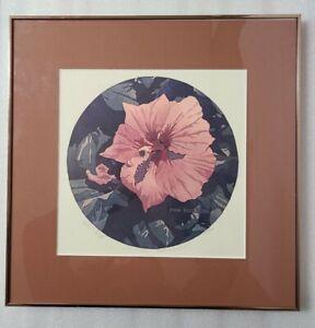 1980 BYRON BIRDSALL Signed Tangerine Hibiscus Lithograph 475/500, Framed