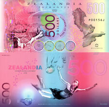 ZEALANDIA 500 Dollars Fun-Fantasy Note 2018 Private Issue Polymer Banknote Bill