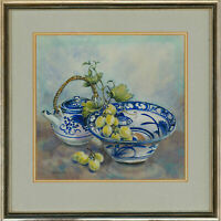 Joan Wilmoth - Signed & Framed 20th Century Watercolour, Still Life with Grapes