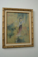 Vintage Painting Japanese Geisha Fanning Herself Unusual Signed Stamped Lovely!