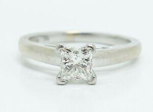 14K White Gold Platinum Certified Leo 0.74ct Diamond Engagement Ring Size 6