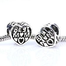 2pcs Retro Silver Best MOM Spacer Charm Bead Fit European Bracelet Necklace