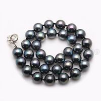 100% Natural AAA+ 8mm Black South Sea Shell Pearl Fashion Necklace 18''