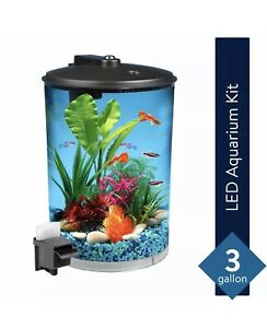Koller Products Tropical 360 View Aquarium Starter Kit, 3-gal **Fast Shipping**
