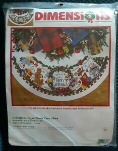 """Dimensions - Counted Cross Stitch KIT Christmas Ingredients 45"""" Tree Skirt #8646"""