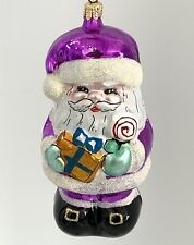 Santa Claus Italy Blown Glass Christmas Ornament Decoration Purple White