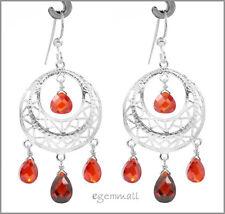 925 Silver Dangle Chandelier Earring CZ Garnet #53042