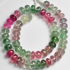"""9.2-9.6mm Vibrant Pink Blue Afghani Tourmaline Faceted Rondelle Bead 14.2"""""""