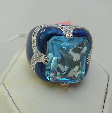 Lauren  Adams Blue Enamel Blue and White CZ Sterling Silver Cocktail Ring Size 5