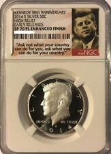 2014 S Silver Kennedy 50th Ann. High Relief Early Releases NGC SP 70 PL Enhanced