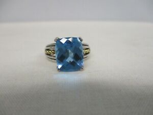 SIGNED LAGOS CAVIAR STERLING SILVER 18K GOLD BLUE TOPAZ RING ~ SIZE 7