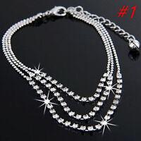 New Silver Tassels Crystal Rhinestone Bead Chain Ankle Bracelet Foot Anklet (#1)