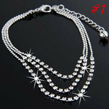 New Silver Tassels Crystal Rhinestone Bead Chain Ankle Bracelet Foot Anklet (#1)