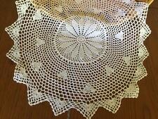 Vintage White Flower Hand Crochet Lace Doily / Topper / Placemat Round 49cm