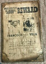 "Proclamation $5000 Reward Francisco Villa -Wooden Plaque 18""X 12""  sign Western"