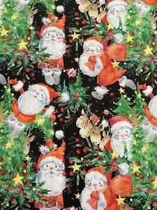 Large Fat Quarter Christmas Reindeer Trees Santa Holly Stars 100% Cotton Fabric