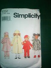 SIMPLICITY PATTERN 8352-child's coat, jacket, pants, hat, scarf-5,6,6X-used