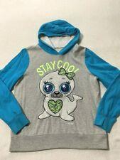Justice 20 Blue Gray Stay Cool White Seal Sherpa Hoodie Sweatshirt Girls