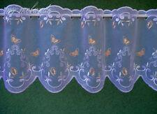 Bistrogardine Plauener Spitze Höhe 30 cm Schmetterlinge grün lachs Meterware NEU