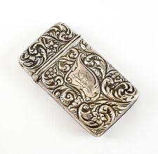 Renommee Mfg Floral Sterling Silver Match Case, c.1900 Hand Chased Floral 19.05g