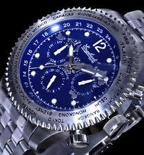Engelhardt Automatik reloj cronógrafo hombre reloj de pulsera azul plata colores de acero inoxidable