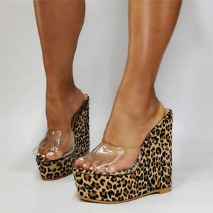 Women Clear Leopard Platform Sandals Open Toe Mule Slipper High Wedge Heels Shoe