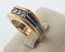 LeMans 14K Yellow Gold 0.45ct Princess Cut Diamonds Anodized Men's Ring- Sz 10.5