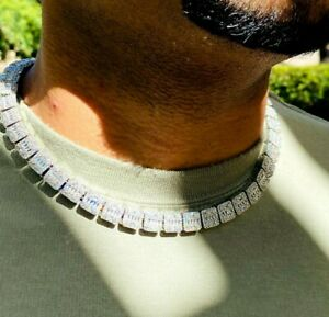 Men's Baguette Tennis Chain 13mm Ice Out 14k White Gold Diamond Real ICY Choker