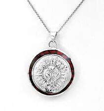 Artisan Two Sided Mesoamerican Sun and Aztec Calendar Pendant from Taxco Mexico