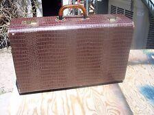 """Vintage Alligator Skin 21"""" Dark Brown Suitcase - Beautiful Bakelite Handle"""