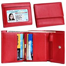 Women Small Wallet Genuine Leather Wallets Trifold Slim Credit Card Holder Red