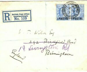 BRITISH LEVANT Cover Constantinople Registered GB OFFICIAL EMBOSSED E 1909 97.4