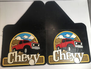 USED PAIR 70's VINTAGE CHEVY CHEVROLET PICKUP TRUCK MUD FLAPS RUBBER 18x12 G7